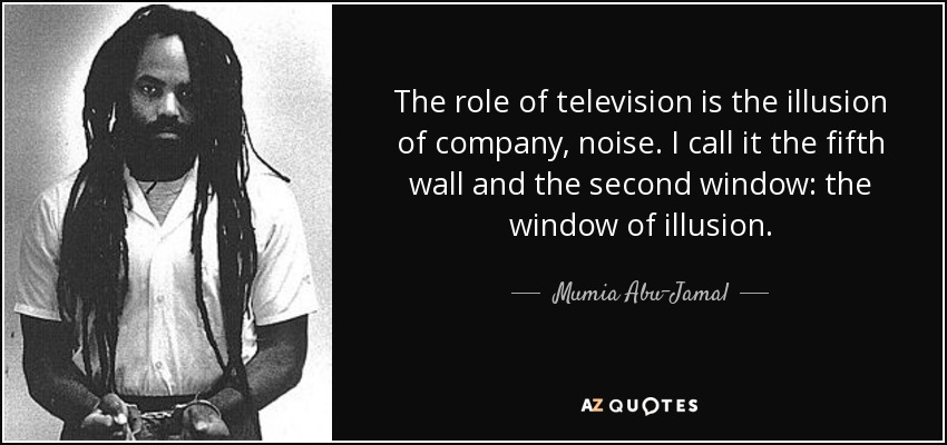 The role of television is the illusion of company, noise. I call it the fifth wall and the second window: the window of illusion. - Mumia Abu-Jamal