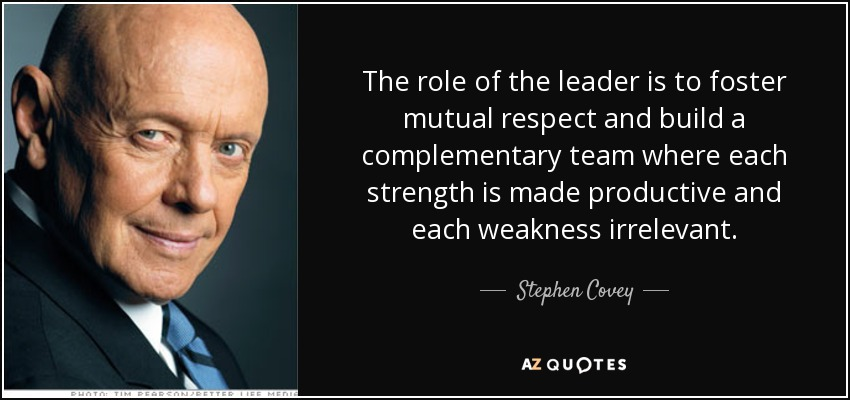 The role of the leader is to foster mutual respect and build a complementary team where each strength is made productive and each weakness irrelevant. - Stephen Covey
