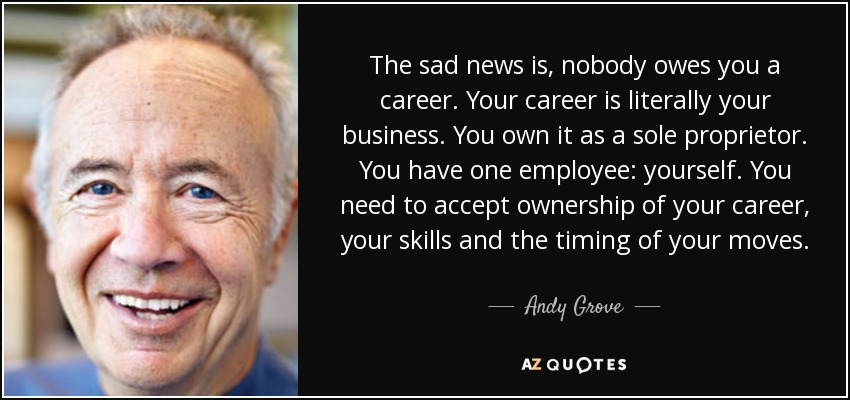 The sad news is, nobody owes you a career. Your career is literally your business. You own it as a sole proprietor. You have one employee: yourself. You need to accept ownership of your career, your skills and the timing of your moves. - Andy Grove