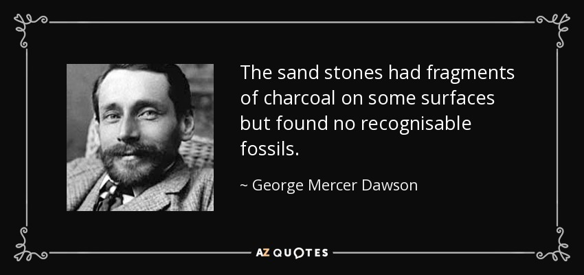 The sand stones had fragments of charcoal on some surfaces but found no recognisable fossils. - George Mercer Dawson