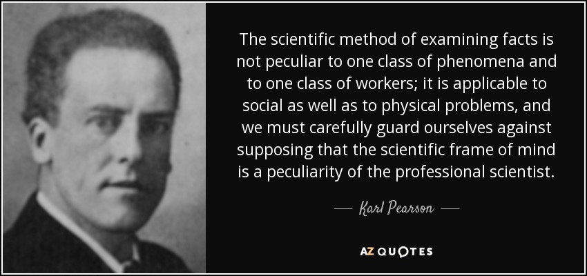 The scientific method of examining facts is not peculiar to one class of phenomena and to one class of workers; it is applicable to social as well as to physical problems, and we must carefully guard ourselves against supposing that the scientific frame of mind is a peculiarity of the professional scientist. - Karl Pearson
