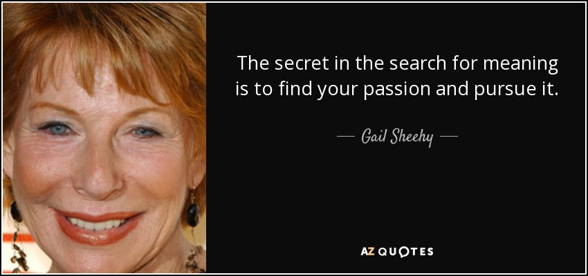 The secret in the search for meaning is to find your passion and pursue it. - Gail Sheehy