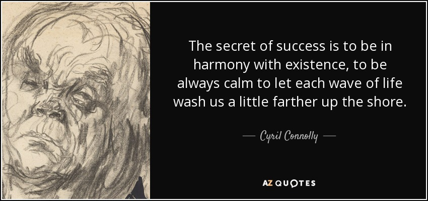 The secret of success is to be in harmony with existence, to be always calm to let each wave of life wash us a little farther up the shore. - Cyril Connolly