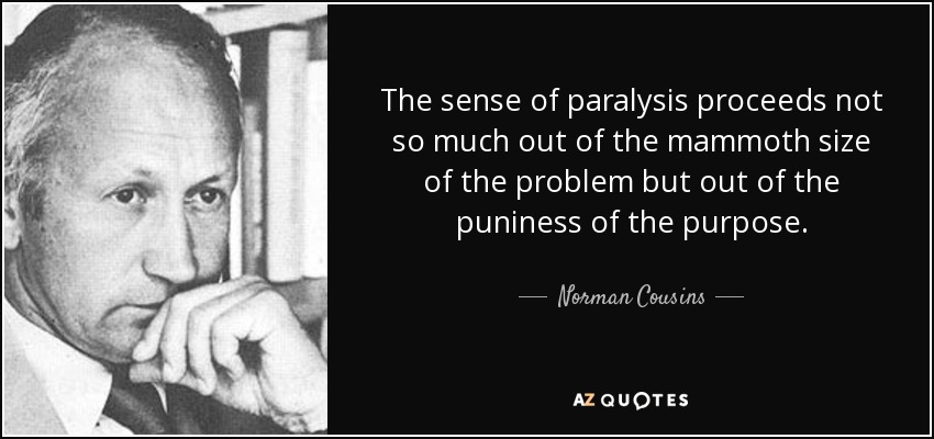 The sense of paralysis proceeds not so much out of the mammoth size of the problem but out of the puniness of the purpose. - Norman Cousins