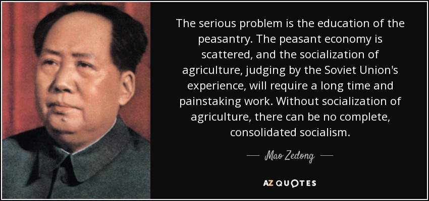 The serious problem is the education of the peasantry. The peasant economy is scattered, and the socialization of agriculture, judging by the Soviet Union's experience, will require a long time and painstaking work. Without socialization of agriculture, there can be no complete, consolidated socialism. - Mao Zedong
