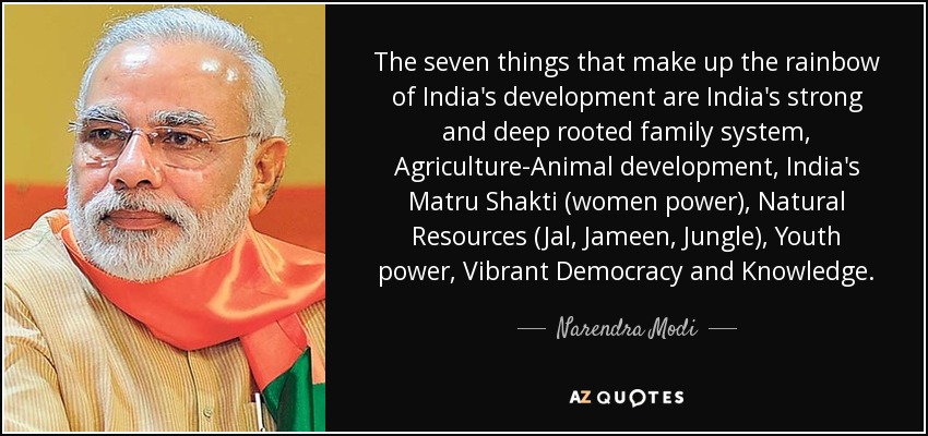 The seven things that make up the rainbow of India's development are India's strong and deep rooted family system, Agriculture-Animal development, India's Matru Shakti (women power), Natural Resources (Jal, Jameen, Jungle), Youth power, Vibrant Democracy and Knowledge. - Narendra Modi