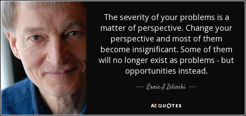 The severity of your problems is a matter of perspective. Change your perspective and most of them become insignificant. Some of them will no longer exist as problems - but opportunities instead. - Ernie J Zelinski