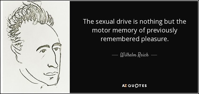 The sexual drive is nothing but the motor memory of previously remembered pleasure. - Wilhelm Reich