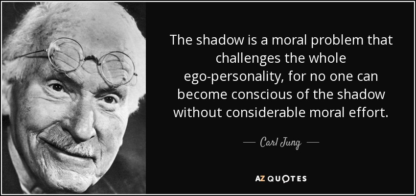 The shadow is a moral problem that challenges the whole ego-personality, for no one can become conscious of the shadow without considerable moral effort. - Carl Jung