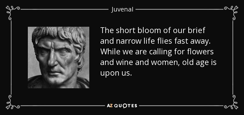 The short bloom of our brief and narrow life flies fast away. While we are calling for flowers and wine and women, old age is upon us. - Juvenal