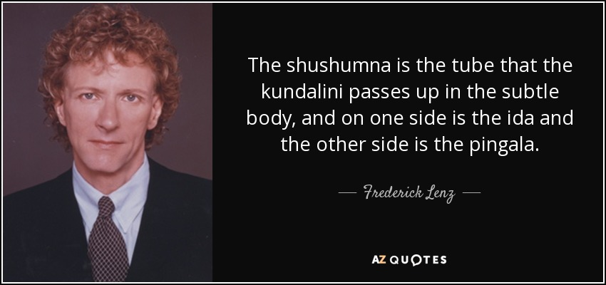 The shushumna is the tube that the kundalini passes up in the subtle body, and on one side is the ida and the other side is the pingala. - Frederick Lenz