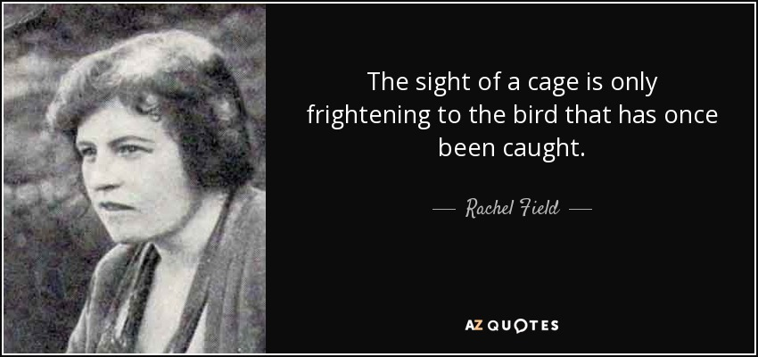 The sight of a cage is only frightening to the bird that has once been caught. - Rachel Field