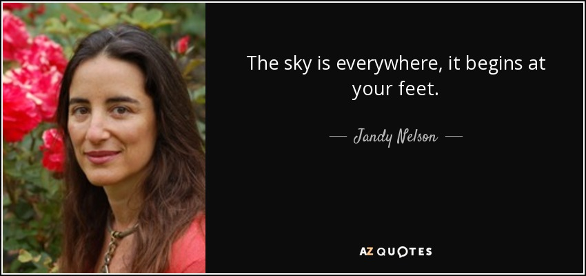 The sky is everywhere, it begins at your feet. - Jandy Nelson