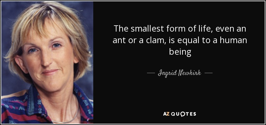 The smallest form of life, even an ant or a clam, is equal to a human being - Ingrid Newkirk