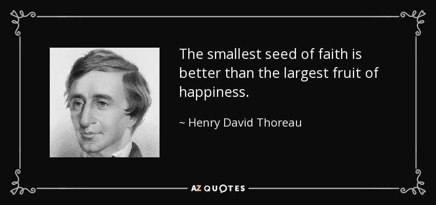 The smallest seed of faith is better than the largest fruit of happiness. - Henry David Thoreau