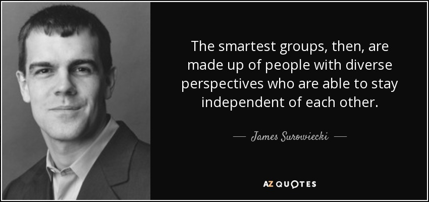 The smartest groups, then, are made up of people with diverse perspectives who are able to stay independent of each other. - James Surowiecki