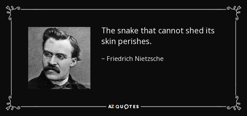 The snake that cannot shed its skin perishes. - Friedrich Nietzsche
