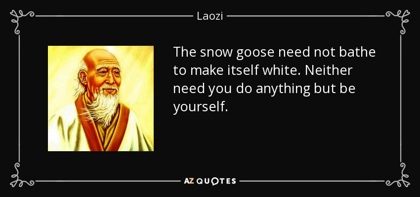 The snow goose need not bathe to make itself white. Neither need you do anything but be yourself. - Laozi