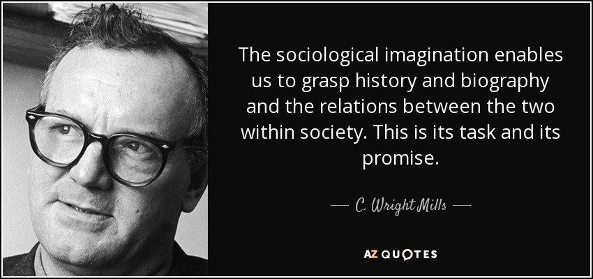 "sociology and sociological imagination The sociological imagination is making the connection between personal  challenges and larger social issues mills identified ""troubles"" (personal  challenges)."