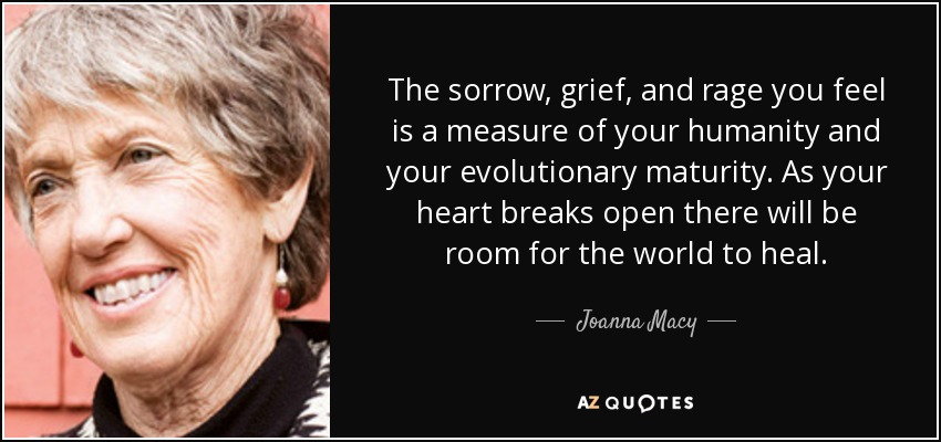 The sorrow, grief, and rage you feel is a measure of your humanity and your evolutionary maturity. As your heart breaks open there will be room for the world to heal. - Joanna Macy