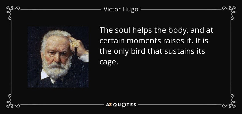 The soul helps the body, and at certain moments raises it. It is the only bird that sustains its cage. - Victor Hugo