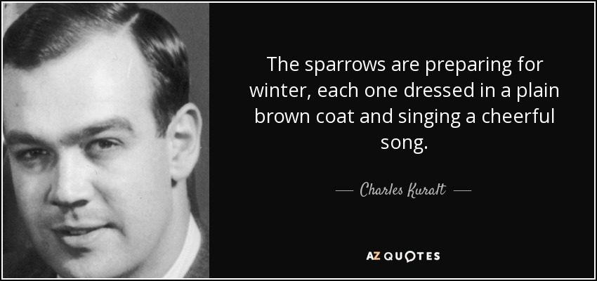 The sparrows are preparing for winter, each one dressed in a plain brown coat and singing a cheerful song. - Charles Kuralt