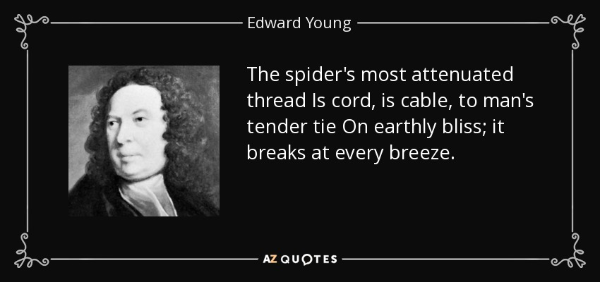 The spider's most attenuated thread Is cord, is cable, to man's tender tie On earthly bliss; it breaks at every breeze. - Edward Young