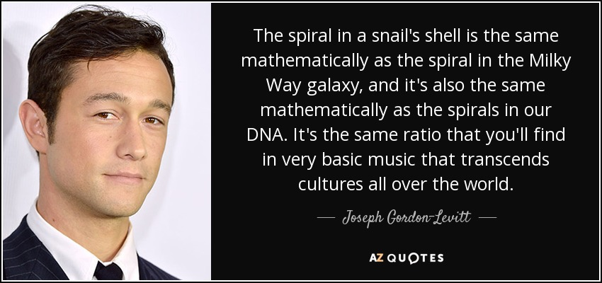 The spiral in a snail's shell is the same mathematically as the spiral in the Milky Way galaxy, and it's also the same mathematically as the spirals in our DNA. It's the same ratio that you'll find in very basic music that transcends cultures all over the world. - Joseph Gordon-Levitt