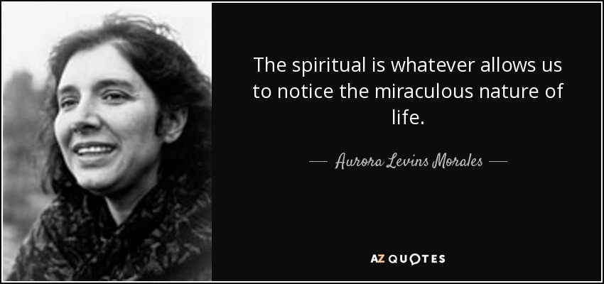 The spiritual is whatever allows us to notice the miraculous nature of life. - Aurora Levins Morales