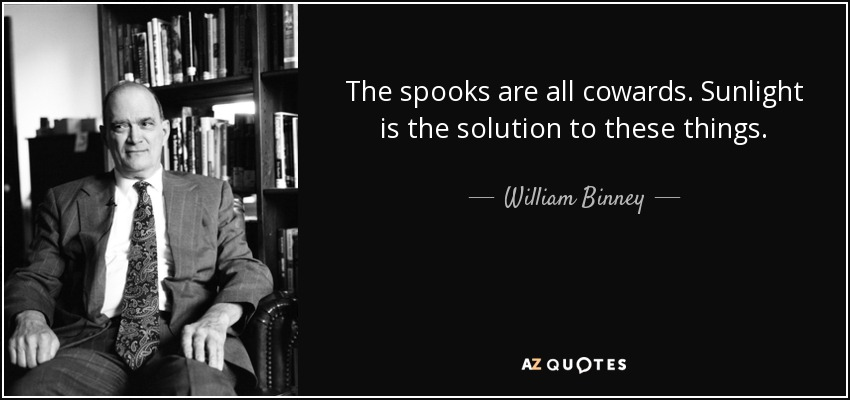The spooks are all cowards. Sunlight is the solution to these things. - William Binney