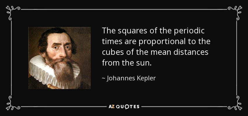 The squares of the periodic times are proportional to the cubes of the mean distances from the sun. - Johannes Kepler