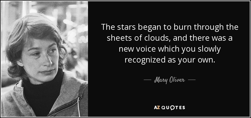 The stars began to burn through the sheets of clouds, and there was a new voice which you slowly recognized as your own. - Mary Oliver