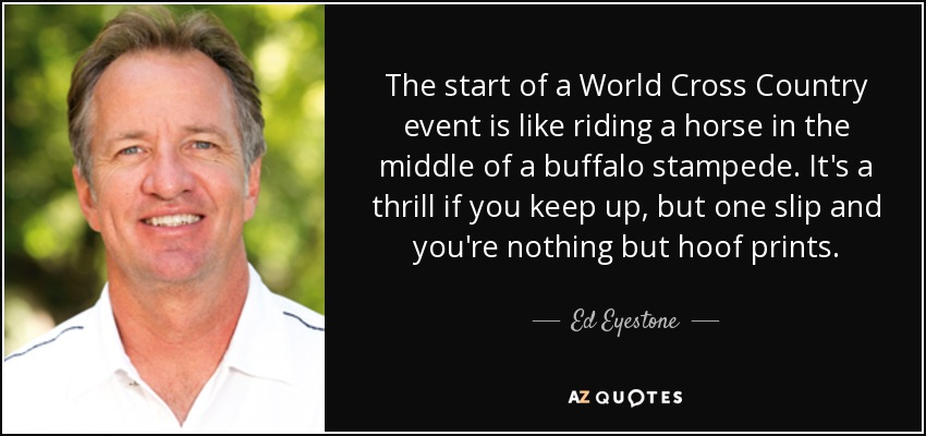 The start of a World Cross Country event is like riding a horse in the middle of a buffalo stampede. It's a thrill if you keep up, but one slip and you're nothing but hoof prints. - Ed Eyestone