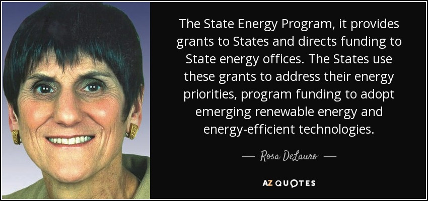 The State Energy Program, it provides grants to States and directs funding to State energy offices. The States use these grants to address their energy priorities, program funding to adopt emerging renewable energy and energy-efficient technologies. - Rosa DeLauro