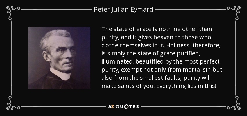 The state of grace is nothing other than purity, and it gives heaven to those who clothe themselves in it. Holiness, therefore, is simply the state of grace purified, illuminated, beautified by the most perfect purity, exempt not only from mortal sin but also from the smallest faults; purity will make saints of you! Everything lies in this! - Peter Julian Eymard