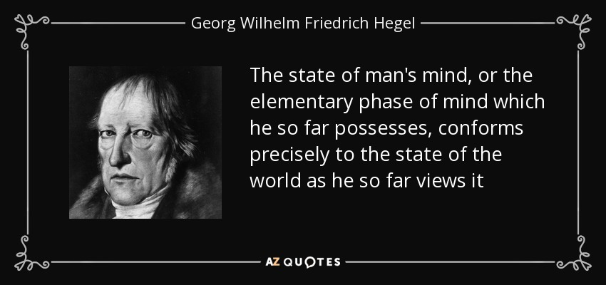 The state of man's mind, or the elementary phase of mind which he so far possesses, conforms precisely to the state of the world as he so far views it - Georg Wilhelm Friedrich Hegel