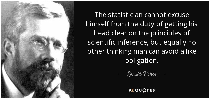 The statistician cannot excuse himself from the duty of getting his head clear on the principles of scientific inference, but equally no other thinking man can avoid a like obligation. - Ronald Fisher