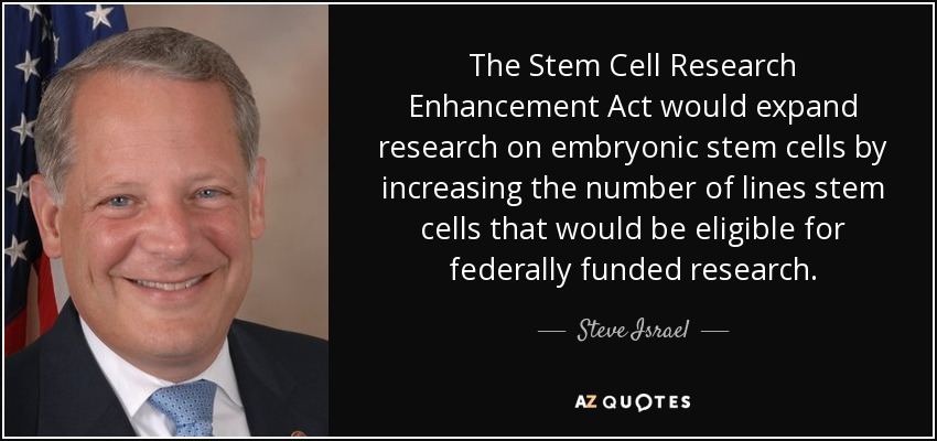 The Stem Cell Research Enhancement Act would expand research on embryonic stem cells by increasing the number of lines stem cells that would be eligible for federally funded research. - Steve Israel