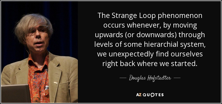 The Strange Loop phenomenon occurs whenever, by moving upwards (or downwards) through levels of some hierarchial system, we unexpectedly find ourselves right back where we started. - Douglas Hofstadter