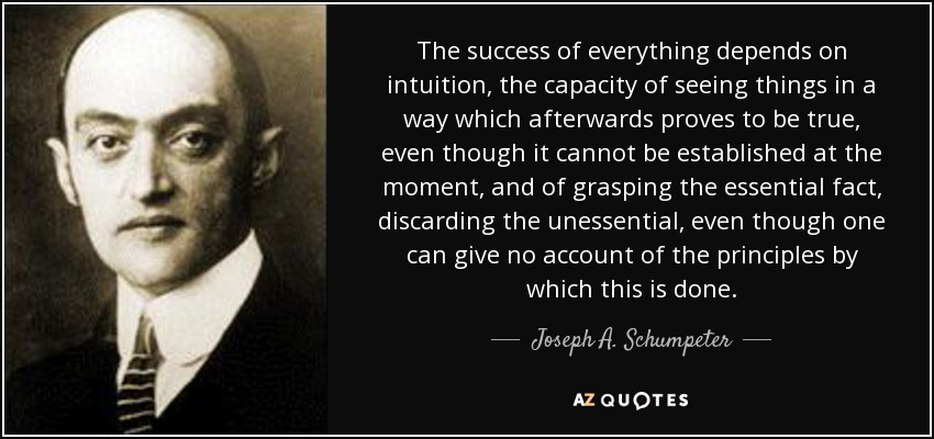 The success of everything depends on intuition, the capacity of seeing things in a way which afterwards proves to be true, even though it cannot be established at the moment, and of grasping the essential fact, discarding the unessential, even though one can give no account of the principles by which this is done. - Joseph A. Schumpeter