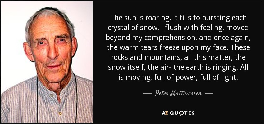 The sun is roaring, it fills to bursting each crystal of snow. I flush with feeling, moved beyond my comprehension, and once again, the warm tears freeze upon my face. These rocks and mountains, all this matter, the snow itself, the air- the earth is ringing. All is moving, full of power, full of light. - Peter Matthiessen