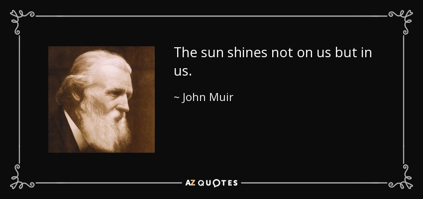 The sun shines not on us but in us. - John Muir