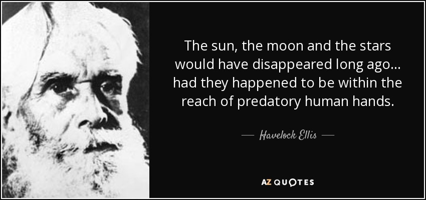 The sun, the moon and the stars would have disappeared long ago... had they happened to be within the reach of predatory human hands. - Havelock Ellis