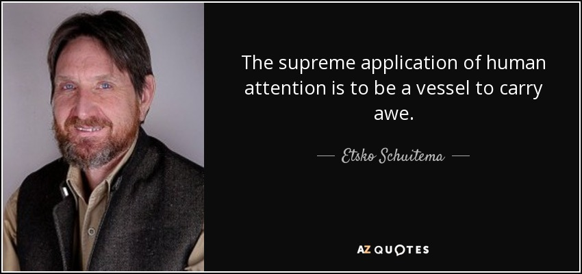 The supreme application of human attention is to be a vessel to carry awe. - Etsko Schuitema