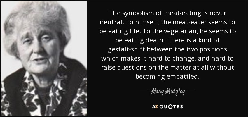 The symbolism of meat-eating is never neutral. To himself, the meat-eater seems to be eating life. To the vegetarian, he seems to be eating death. There is a kind of gestalt-shift between the two positions which makes it hard to change, and hard to raise questions on the matter at all without becoming embattled. - Mary Midgley