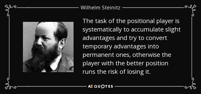 The task of the positional player is systematically to accumulate slight advantages and try to convert temporary advantages into permanent ones, otherwise the player with the better position runs the risk of losing it. - Wilhelm Steinitz