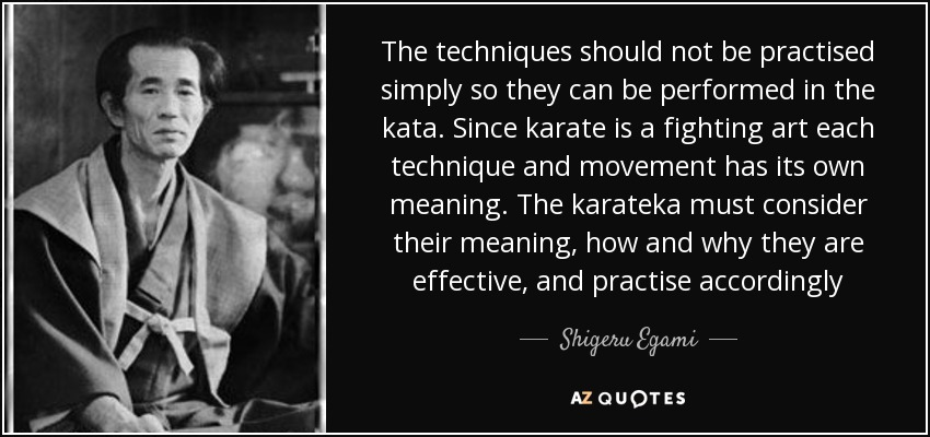 The techniques should not be practised simply so they can be performed in the kata. Since karate is a fighting art each technique and movement has its own meaning. The karateka must consider their meaning, how and why they are effective, and practise accordingly - Shigeru Egami