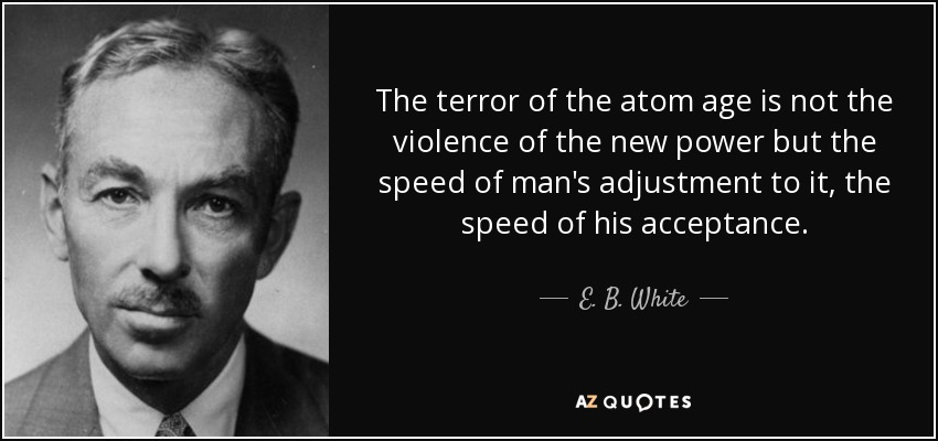 The terror of the atom age is not the violence of the new power but the speed of man's adjustment to it, the speed of his acceptance. - E. B. White
