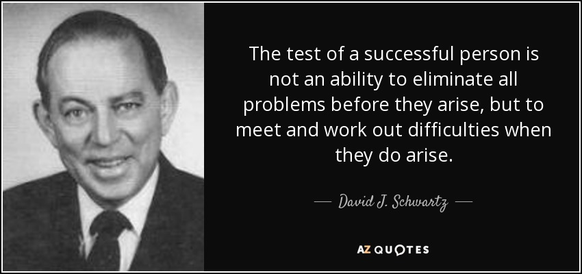 The test of a successful person is not an ability to eliminate all problems before they arise, but to meet and work out difficulties when they do arise. - David J. Schwartz