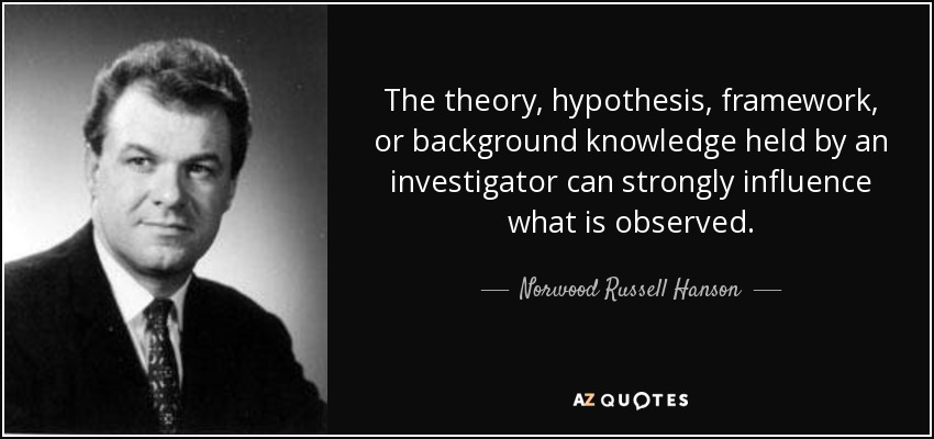 The theory, hypothesis, framework, or background knowledge held by an investigator can strongly influence what is observed. - Norwood Russell Hanson